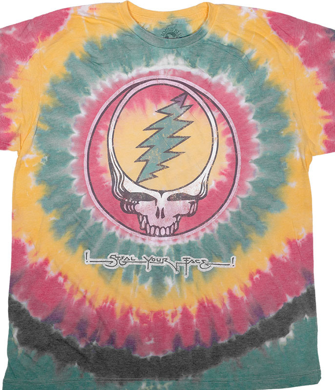 Grateful Dead Vintage Rasta SYF Poly-Cotton Tie-Dye T-Shirt Tee Liquid Blue