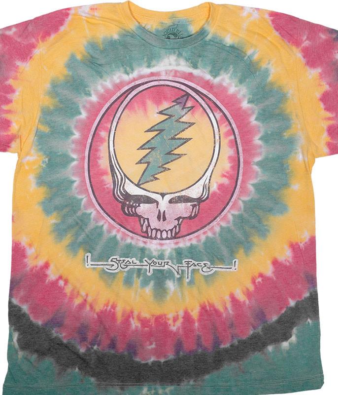 Grateful Dead Vintage Rasta SYF Poly-Cotton Tie-Dye T-Shirt Tee Liquid Blue