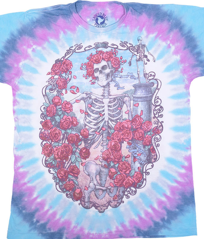 Grateful Dead Vintage 30th Anniversary Poly-Cotton Tie-Dye T-Shirt Tee Liquid Blue
