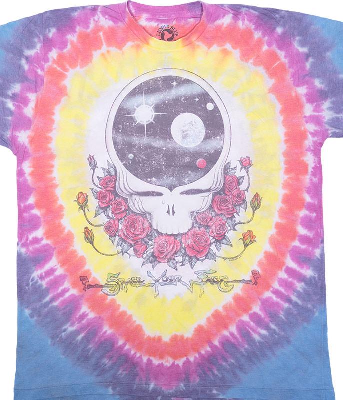 Grateful Dead Vintage Space Your Face Poly-Cotton Tie-Dye T-Shirt Tee Liquid Blue