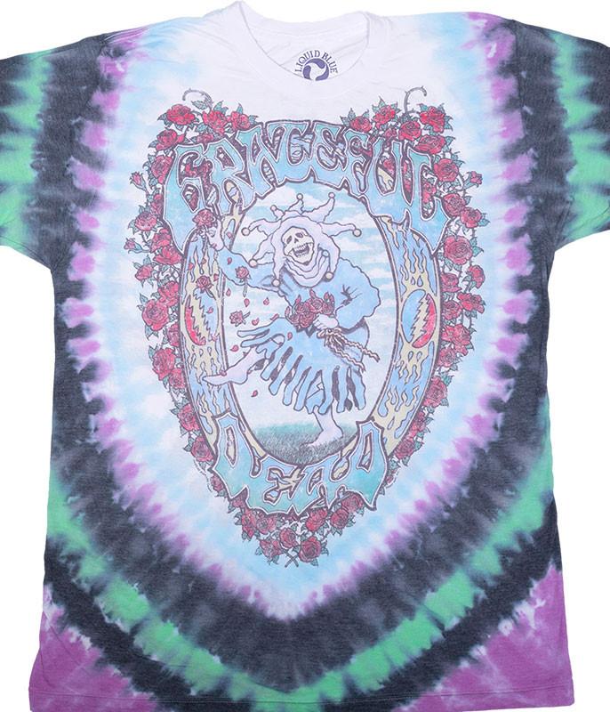 Grateful Dead Vintage Seasons Of The Dead Poly-Cotton Tie-Dye T-Shirt Tee Liquid Blue