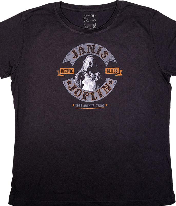 Janis Joplin Kozmic Blues Womens Long Length Black T-Shirt Tee Liquid Blue
