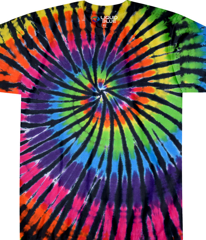 Rainbow Spiral Streak Unprinted Tie-Dye T-Shirt Tee Liquid Blue