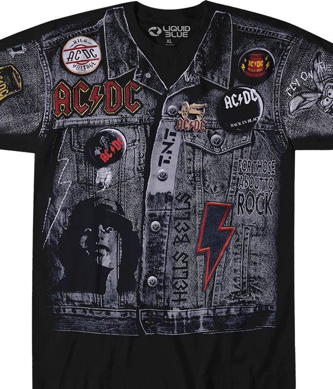 AC/DC Jacket Black T-Shirt Tee Liquid Blue