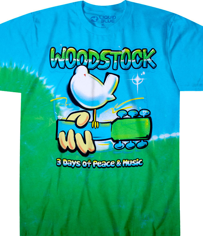 Woodstock Graffiti Tie-Dye T-Shirt Tee Liquid Blue