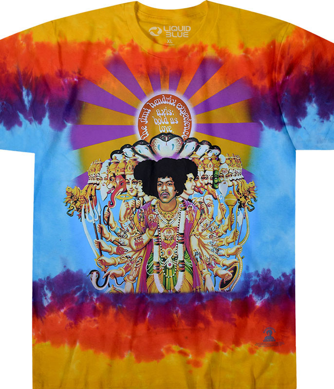 Jimi Hendrix Axis Bold As Love Tie-Dye T-Shirt Tee Liquid Blue