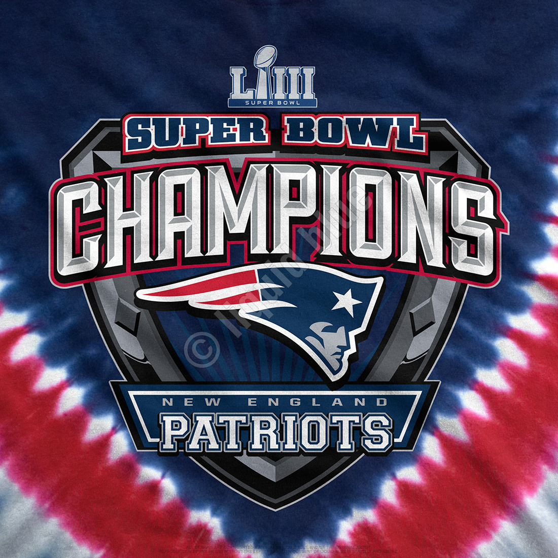 New England Patriots Super Bowl LIII Champions Tie-Dye T-Shirt Clearance 50% OFF