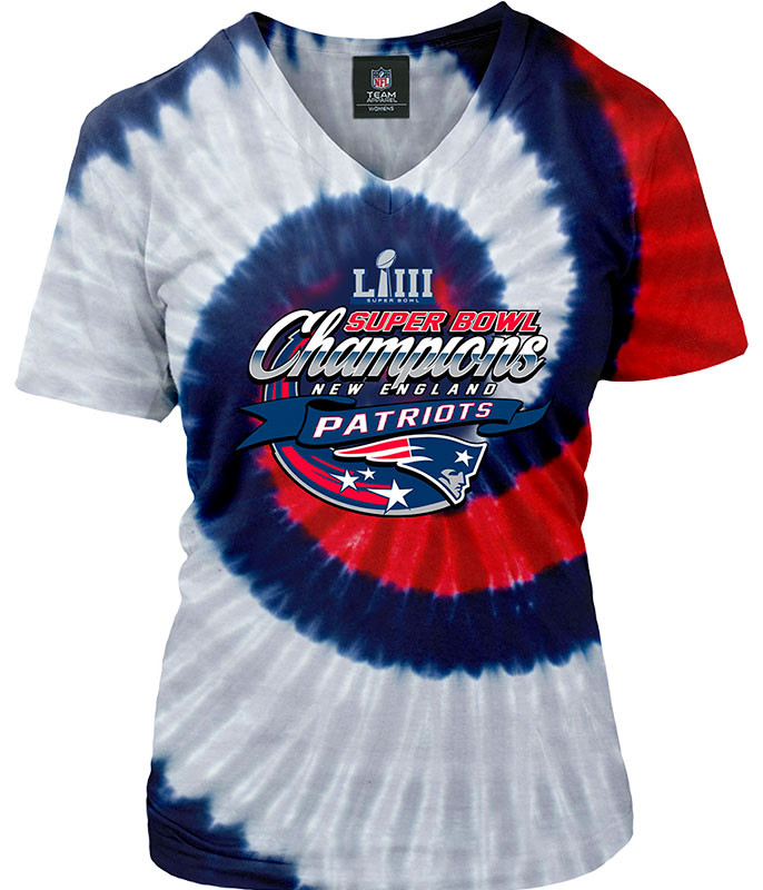NFL New England Patriots Super Bowl LIII Champions Womens Spiral Tie-Dye Long Length T-Shirt Tee Liquid Blue