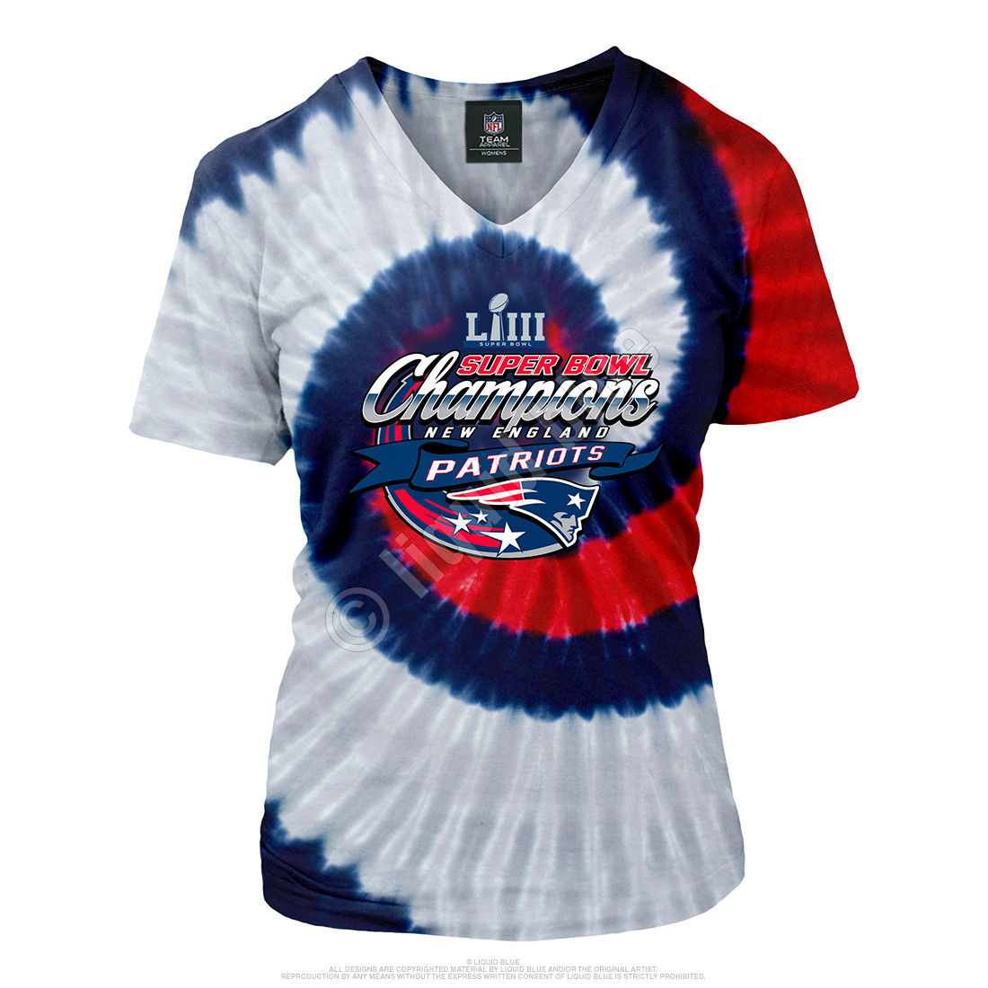 c7ddebd9865a New England Patriots Super Bowl LIII Champions Womens Tie-Dye Long Length V-Neck  T-Shirt