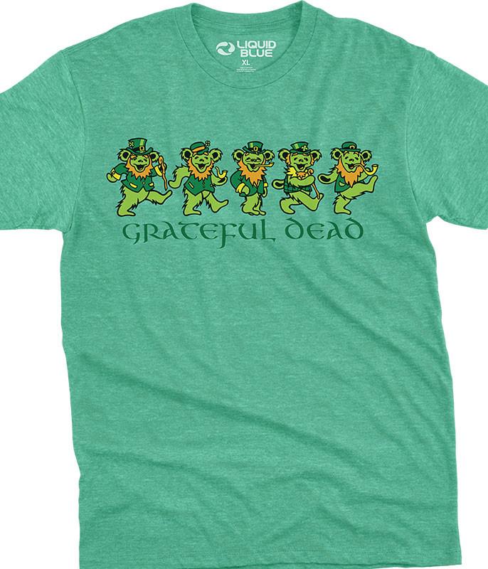 Grateful Dead Irish Bears Poly Cotton Heather Green T-Shirt Tee Liquid Blue