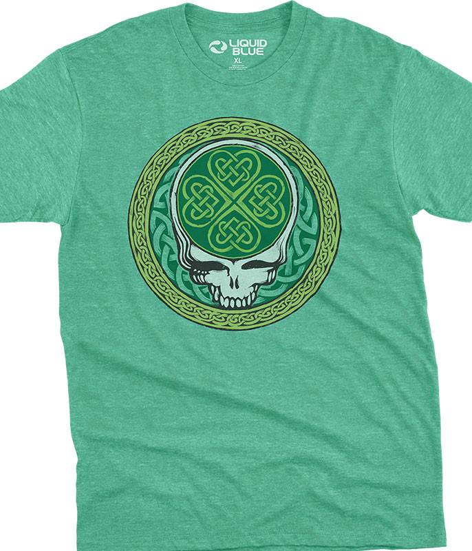 Grateful Dead Celtic Shamrock SYF Poly Cotton Heather Green T-Shirt Tee Liquid Blue
