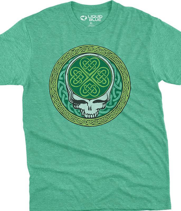 Grateful Dead Celtic Shamrock SYF Poly Cotton Heather Green T-Shirt Tee Liquid Blue