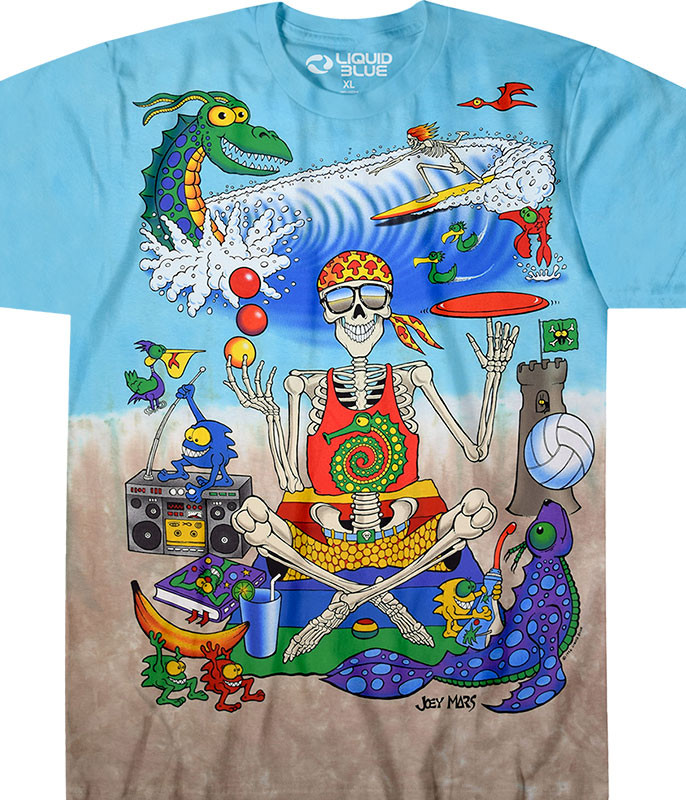 Light Fantasy Mars Beach Joey Mars Tie-Dye T-Shirt Tee Liquid Blue