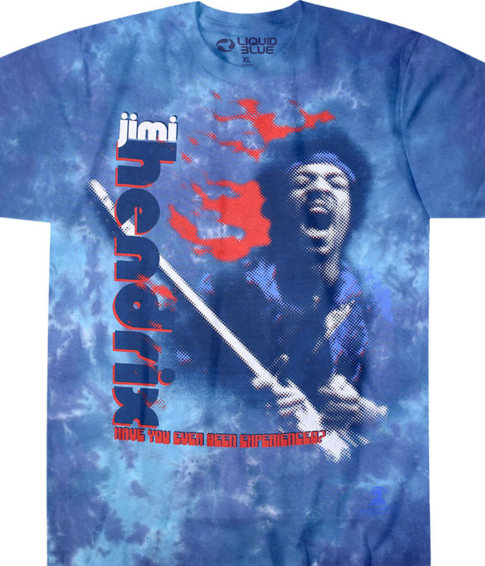Jimi Hendrix Fire Tie-Dye T-Shirt Tee Liquid Blue