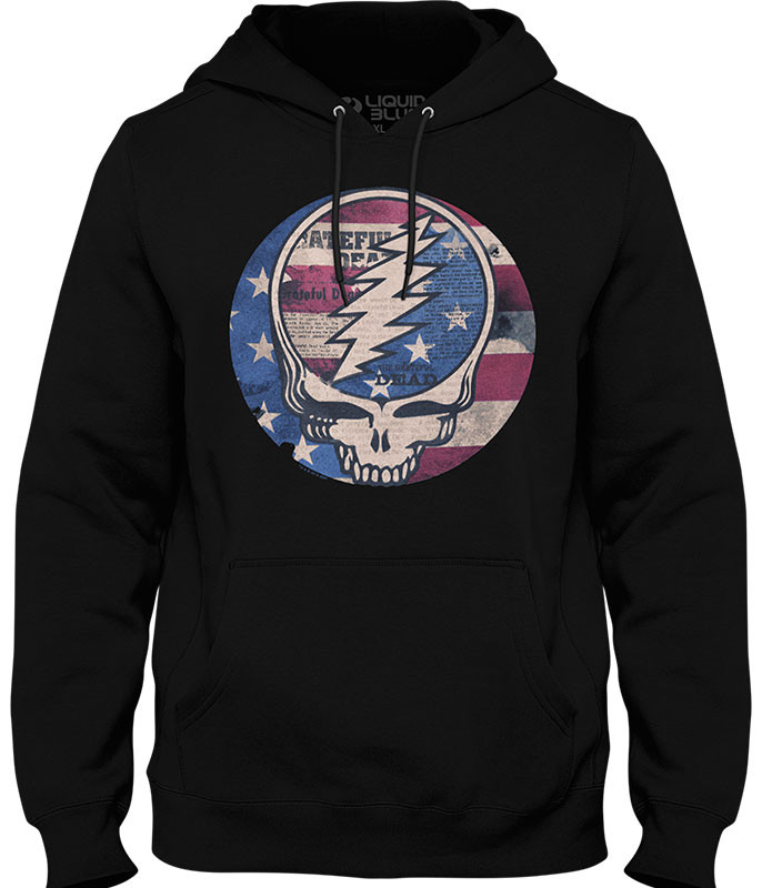 Grateful Dead USA Distressed SYF Black Hoodie Liquid Blue