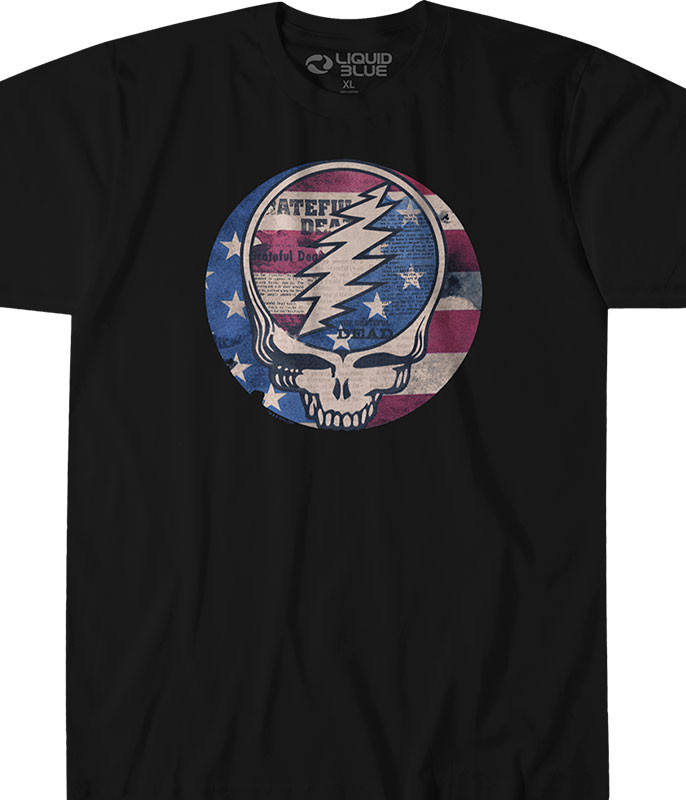 Grateful Dead USA Distressed SYF Black T-Shirt Tee Liquid Blue