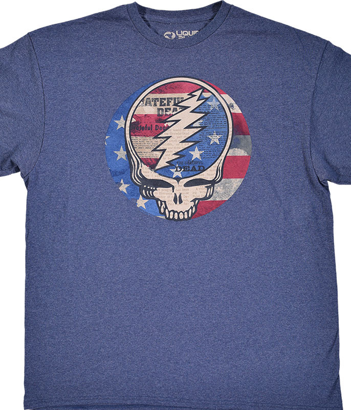 Grateful Dead USA Distressed SYF Blue Heather Poly-Cotton T-Shirt Tee Liquid Blue