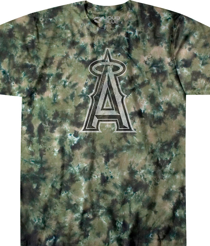 MLB Los Angeles Angels Camo Tie-Dye T-Shirt Tee Liquid Blue