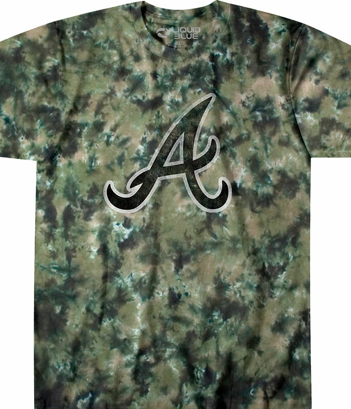 MLB Atlanta Braves Camo Tie-Dye T-Shirt Tee Liquid Blue
