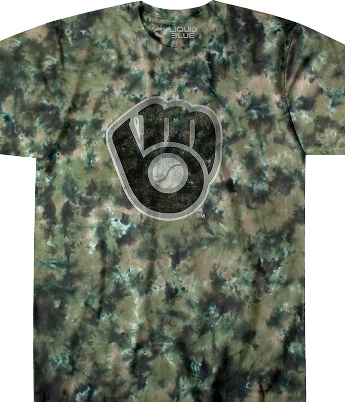 MLB Milwaukee Brewers Camo Tie-Dye T-Shirt Tee Liquid Blue