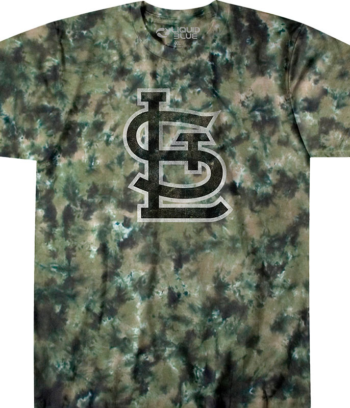 MLB St. Louis Cardinals Camo Tie-Dye T-Shirt Tee Liquid Blue