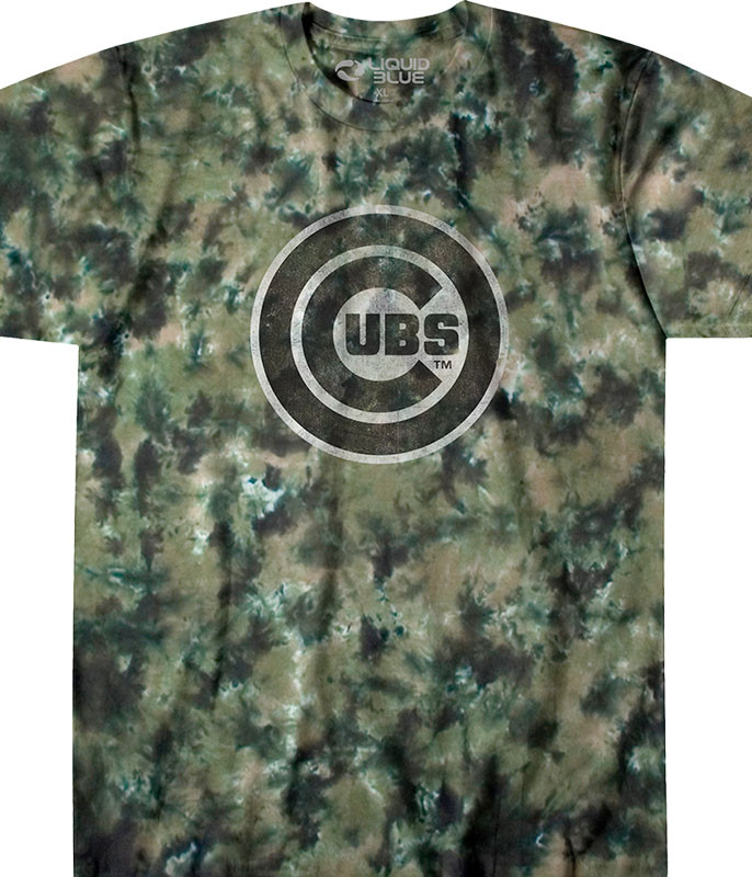 MLB Chicago Cubs Camo Tie-Dye T-Shirt Tee Liquid Blue