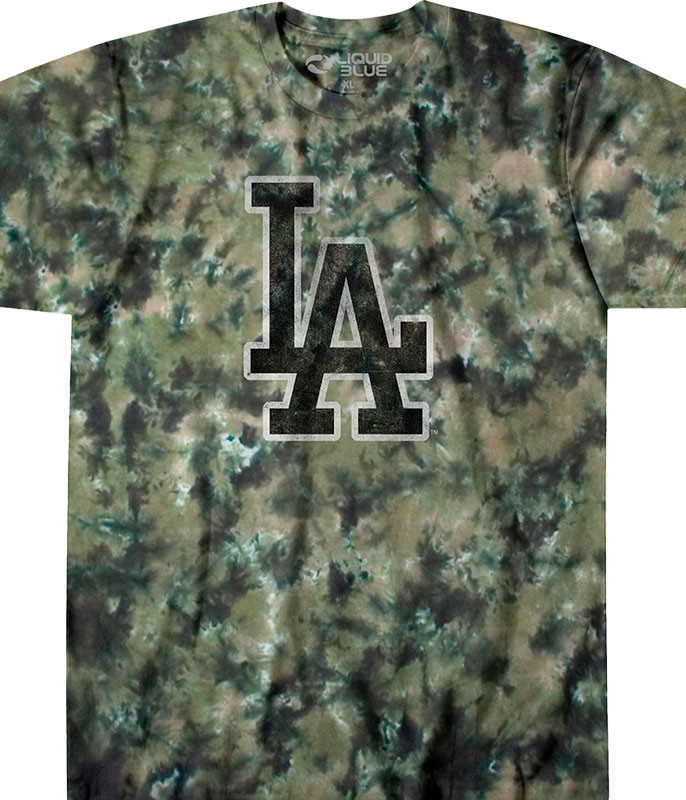 MLB Los Angeles Dodgers Camo Tie-Dye T-Shirt Tee Liquid Blue