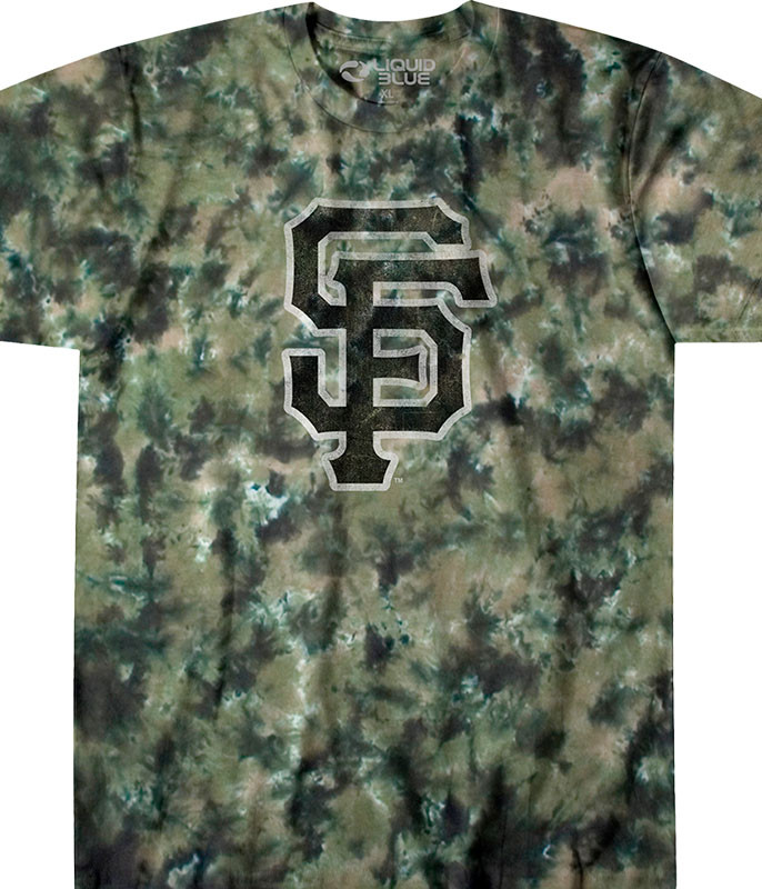 MLB San Francisco Giants Camo Tie-Dye T-Shirt Tee Liquid Blue