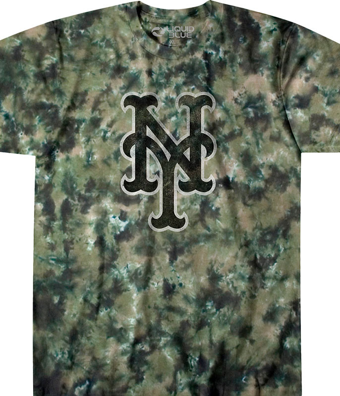 MLB New York Mets Camo Tie-Dye T-Shirt Tee Liquid Blue