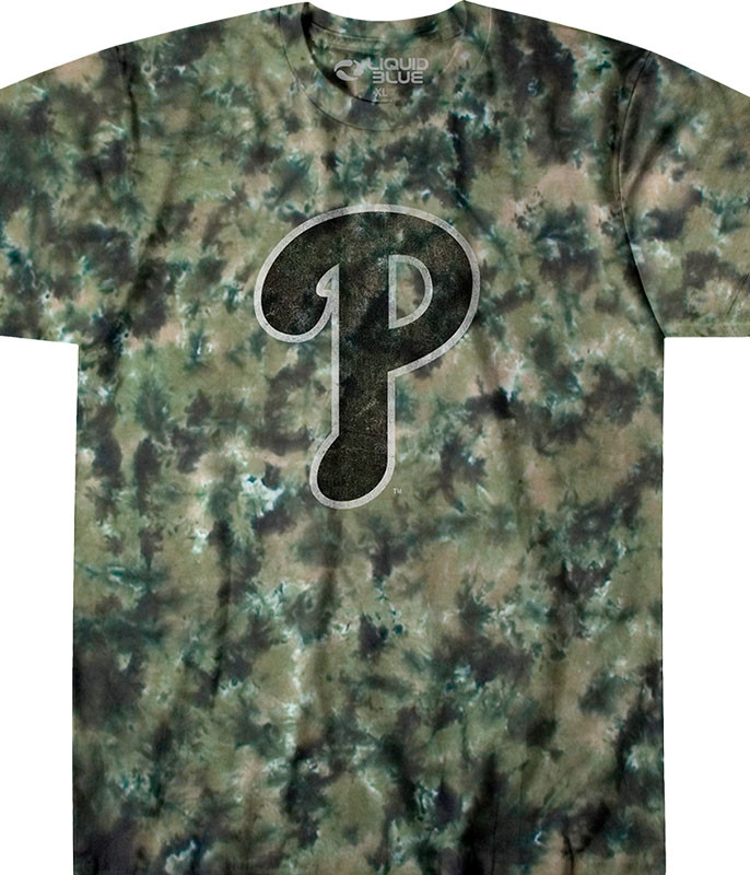 MLB Philadelphia Phillies Camo Tie-Dye T-Shirt Tee Liquid Blue