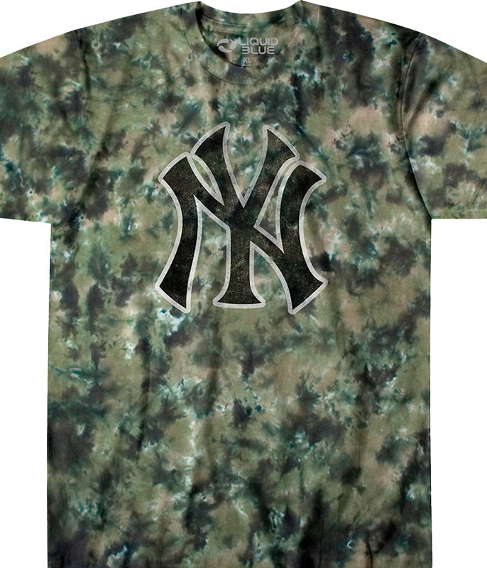 MLB New York Yankees Camo Tie-Dye T-Shirt Tee Liquid Blue