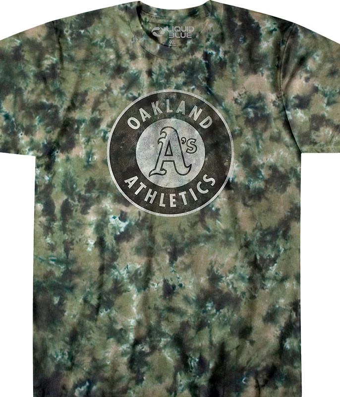 MLB Oakland Athletics Camo Tie-Dye T-Shirt Tee Liquid Blue