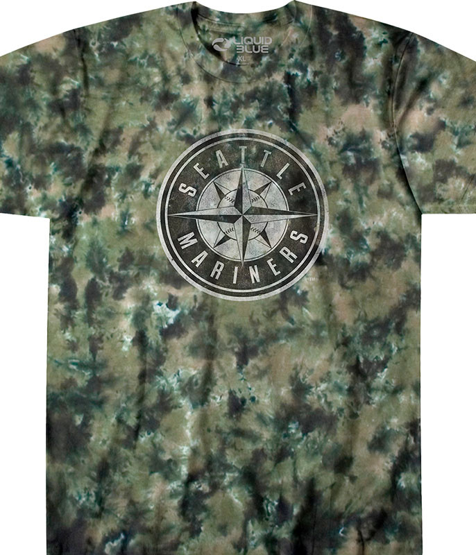 MLB Seattle Mariners Camo Tie-Dye T-Shirt Tee Liquid Blue
