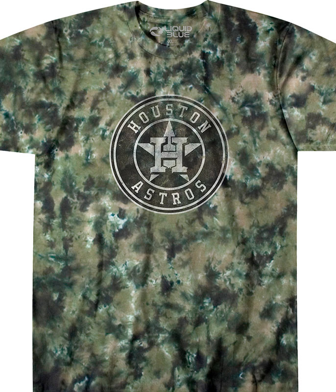 MLB Houston Astros Camo Tie-Dye T-Shirt Tee Liquid Blue