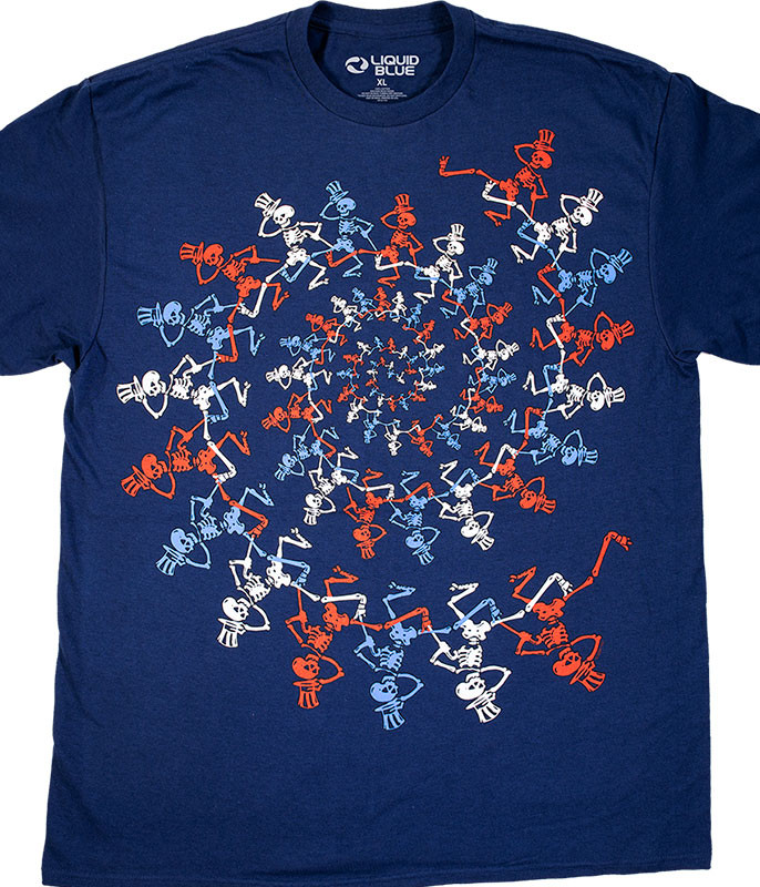 USA Spiral Skeletons Navy T-Shirt
