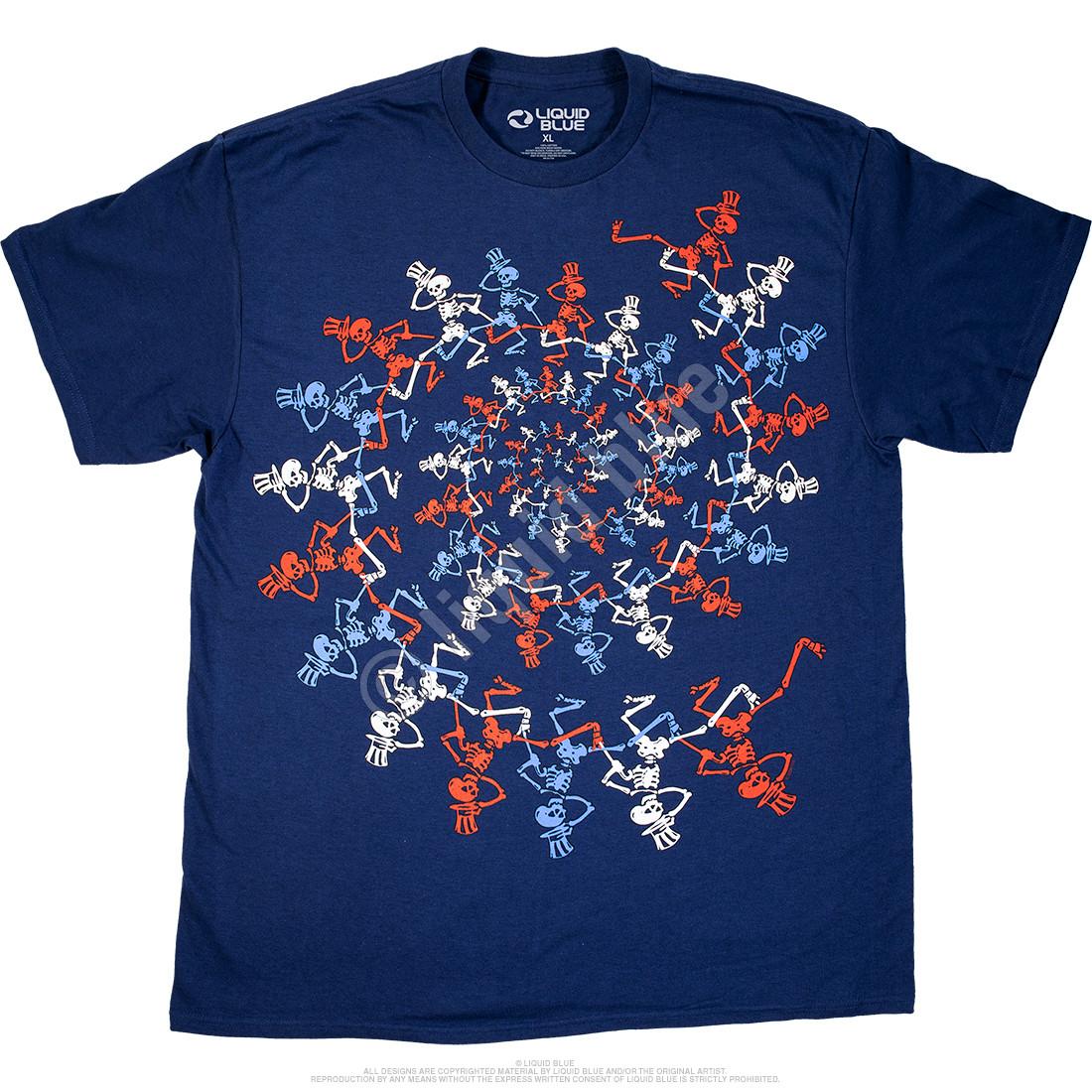 USA Spiral Skeletons Navy T-Shirt