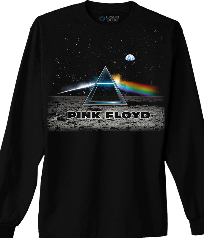 Pink Floyd Dark Side Lander Black Long Sleeve T-Shirt Tee Liquid Blue