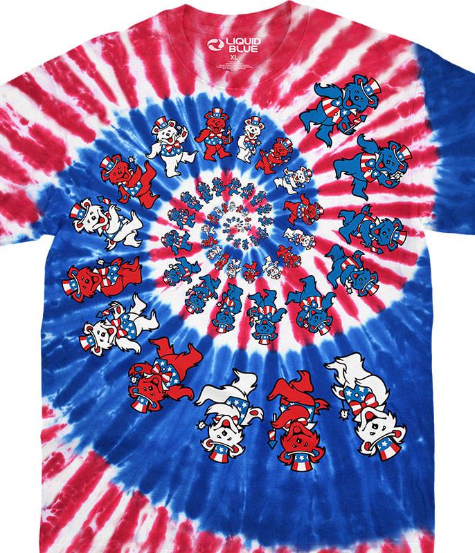 4th of July Spiral Patriotic Bears Tie-Dye T-Shirt Tee Liquid Blue