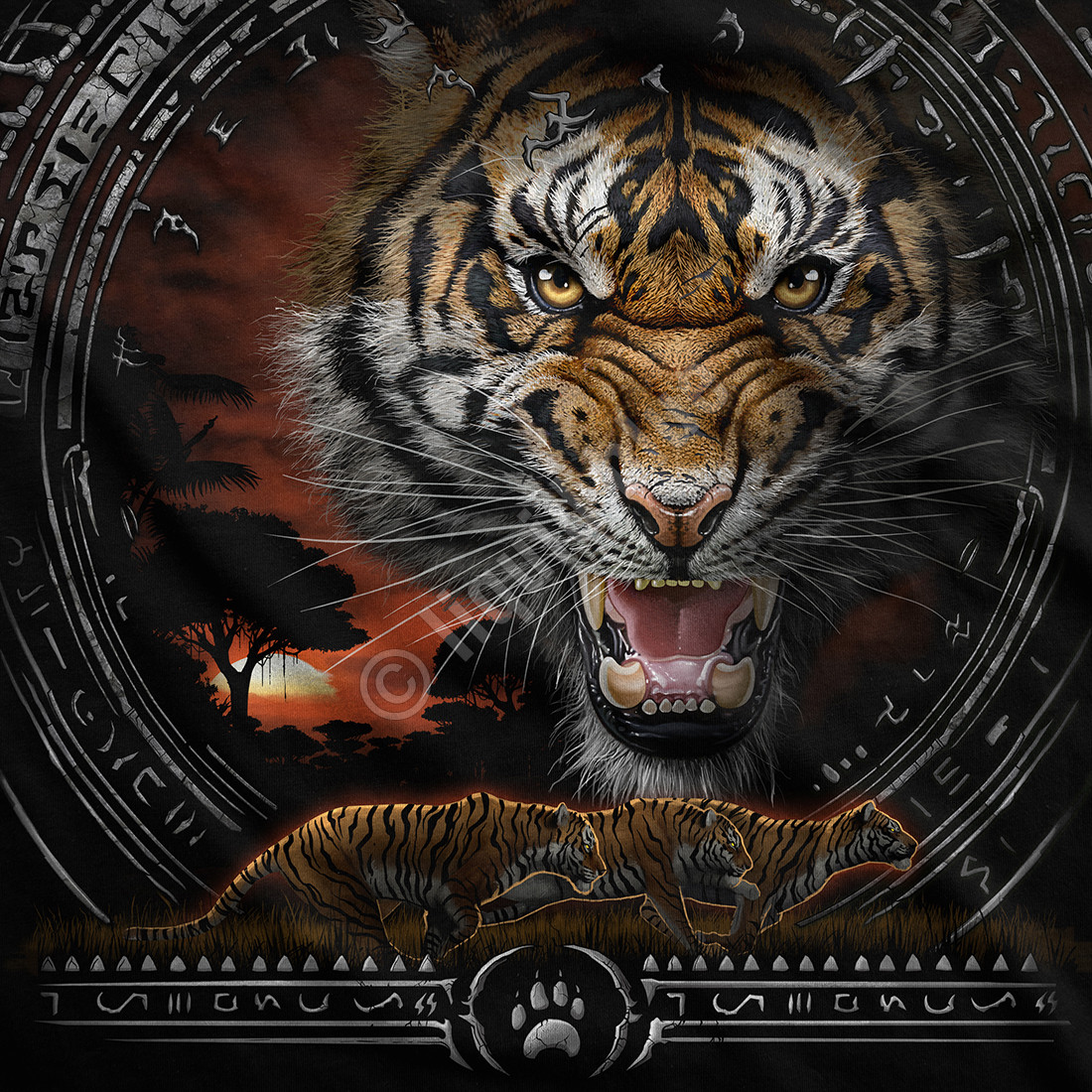 Tribal Tiger Black T-Shirt