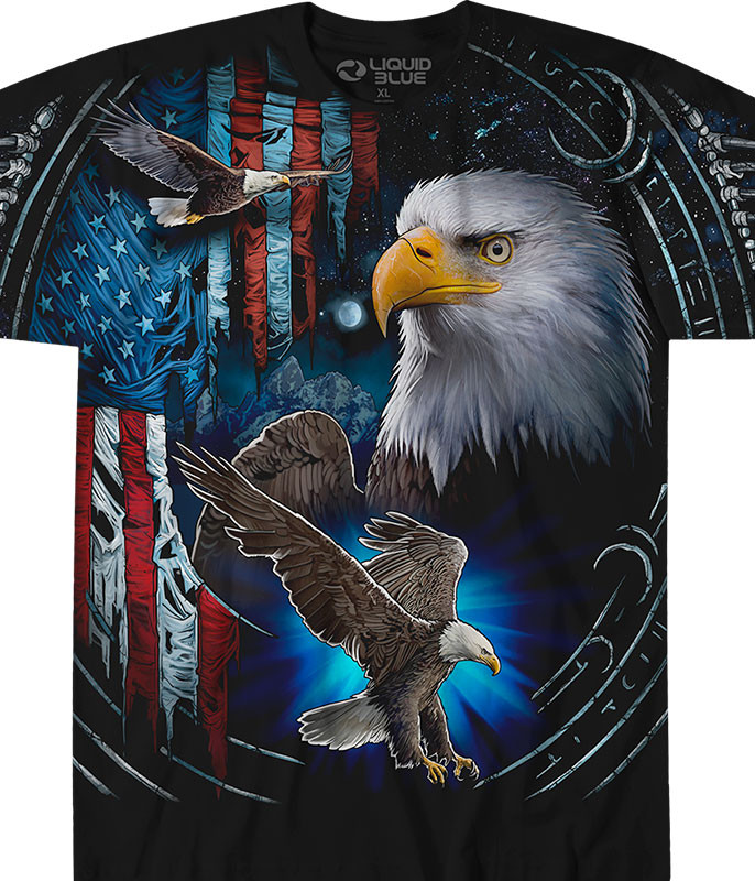 Exotic Wildlife Tribal Eagle Black T-Shirt Tee Liquid Blue