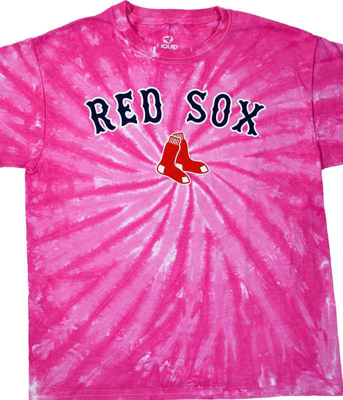 MLB Boston Red Sox Youth Pink Spiral Tie-Dye T-Shirt Tee
