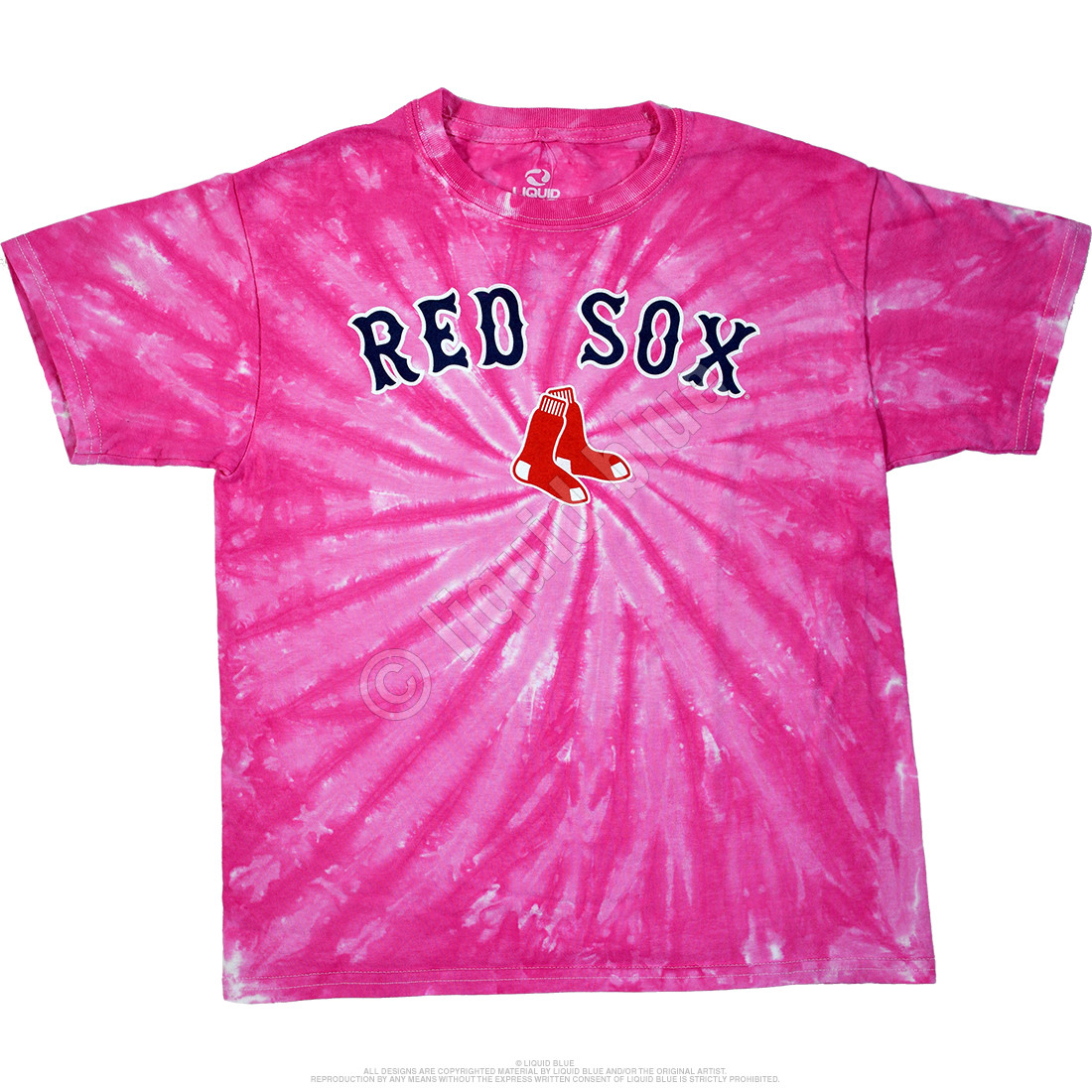 Boston Red Sox Youth Pink Spiral Tie-Dye T-Shirt