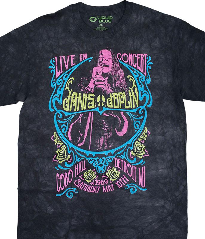Janis Joplin Charlotte 69 Blacklight Tie-Dye T-Shirt Tee Liquid Blue