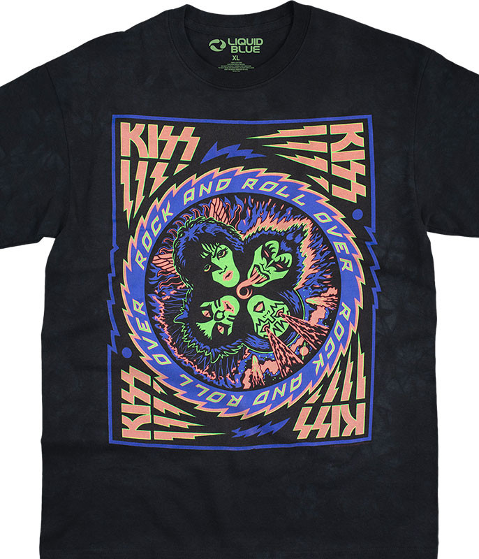 KISS Blacklight Tie-Dye T-Shirt Tee Liquid Blue