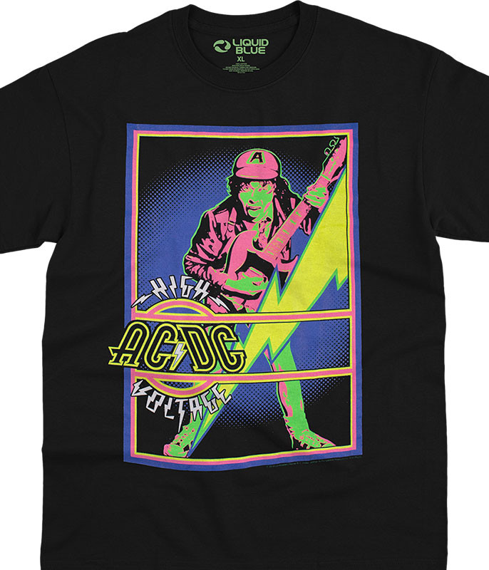 AC/DC High Voltage Blacklight Black T-Shirt Tee Liquid Blue