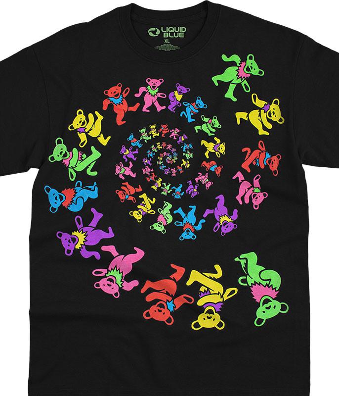 Grateful Dead Spiral Bears Blacklight Black T-Shirt Tee Liquid Blue