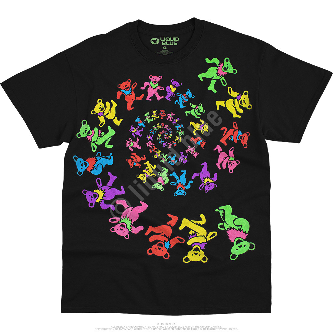 Spiral Bears Blacklight Black T-Shirt