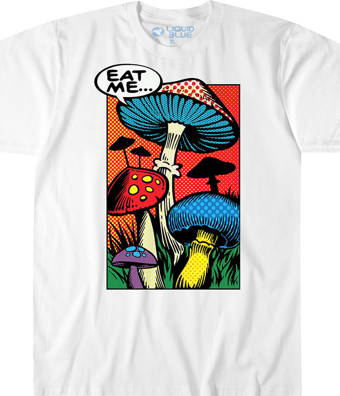 Light Fantasy Eat Me White T-Shirt Tee Liquid Blue
