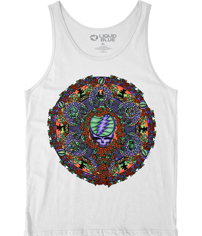 Grateful Dead Celtic Mandala White Tank Top T-Shirt Tee Liquid Blue