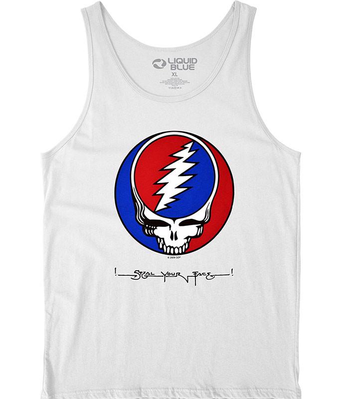 Grateful Dead SYF White Tank Top T-Shirt Tee Liquid Blue